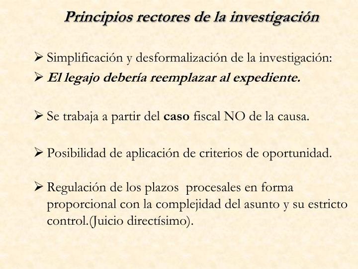 Principios rectores de la investigación