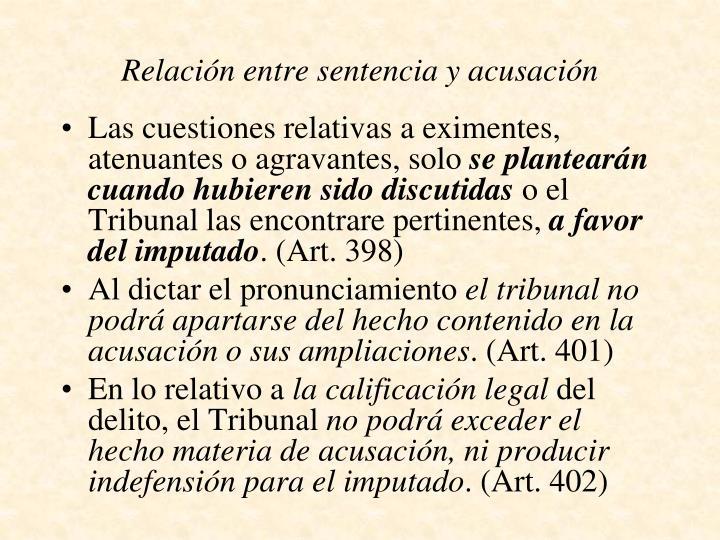 Relación entre sentencia y acusación