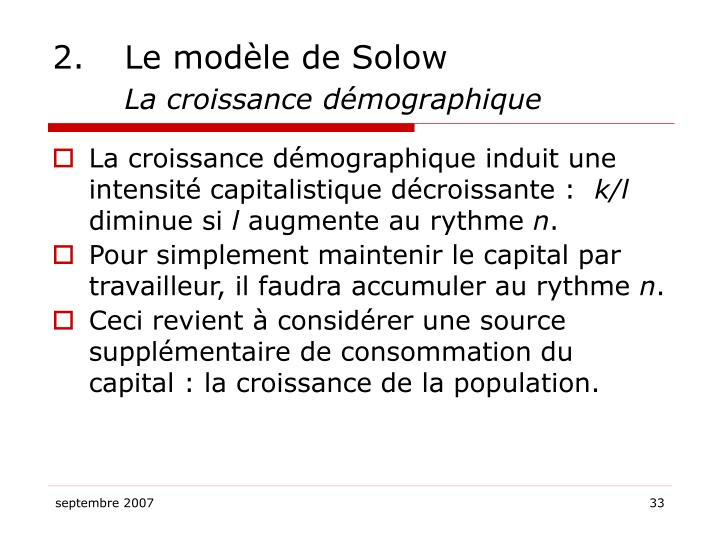 2.Le modèle de Solow
