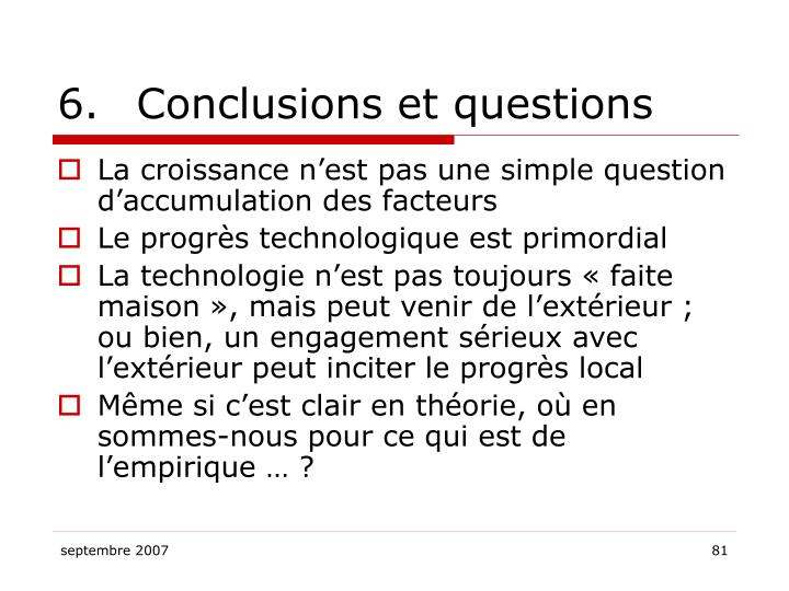 6.Conclusions et questions