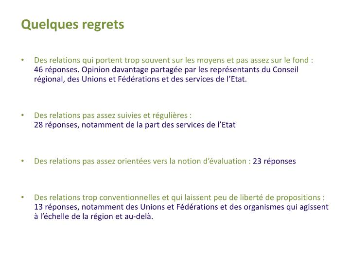 Quelques regrets