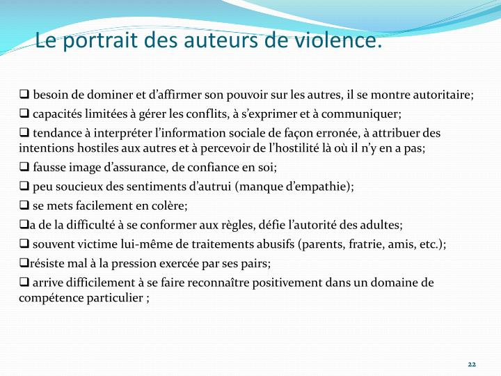 Le portrait des auteurs de violence.