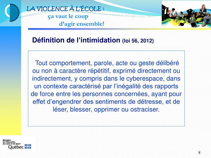LA VIOLENCE À L'ÉCOLE: