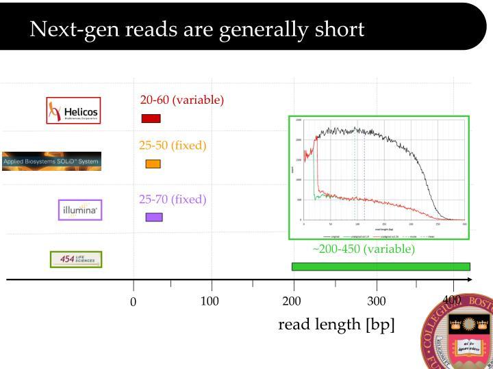 Next-gen reads are generally short
