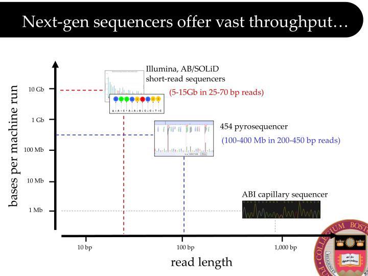 Next gen sequencers offer vast throughput