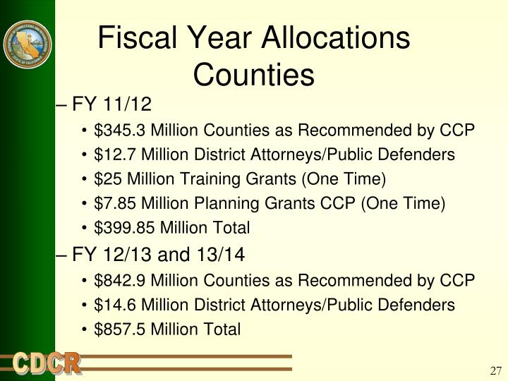 Fiscal Year Allocations