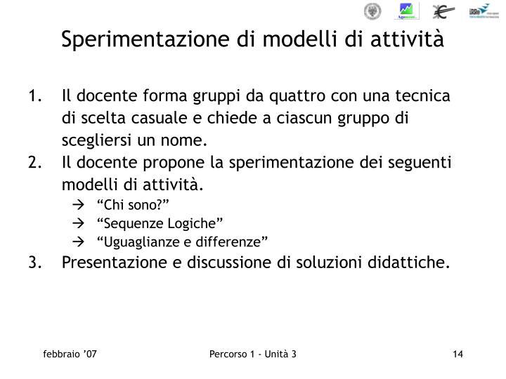 Sperimentazione di modelli di attività