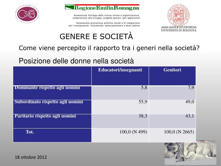GENERE E SOCIETÀ