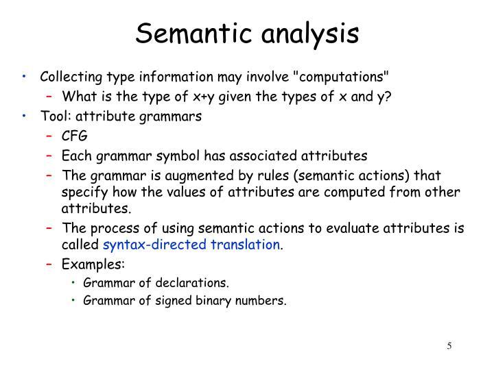 Semantic analysis