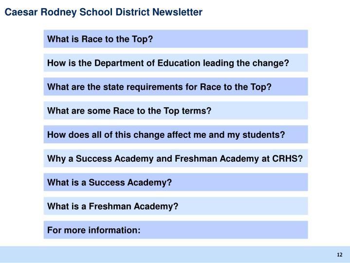 Caesar Rodney School District Newsletter