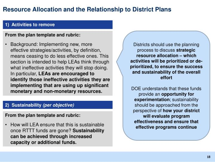 Resource Allocation and the Relationship to District Plans