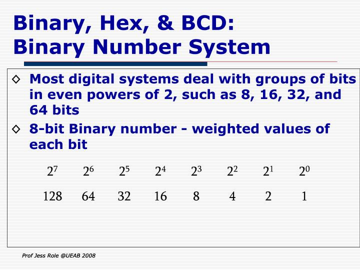 Binary, Hex, & BCD: