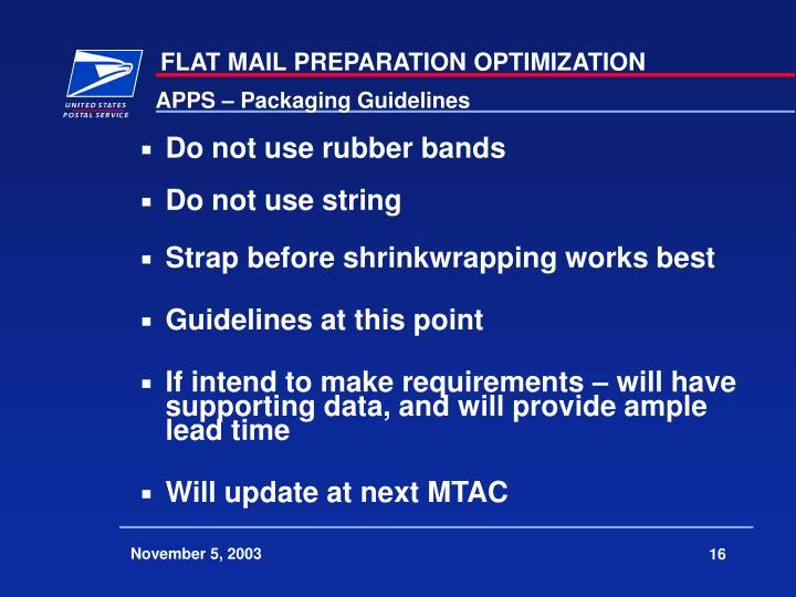 APPS – Packaging Guidelines
