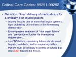 critical care codes 99291 99292