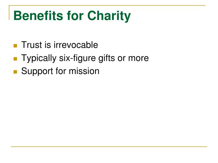 Benefits for Charity