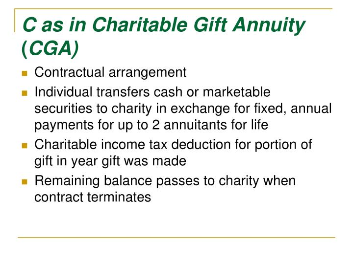C as in Charitable Gift Annuity