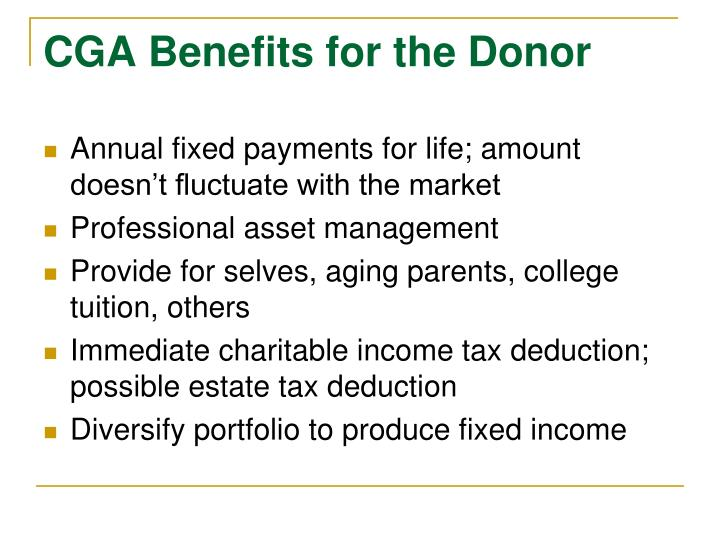 CGA Benefits for the Donor