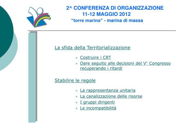 2^ CONFERENZA DI ORGANIZZAZIONE