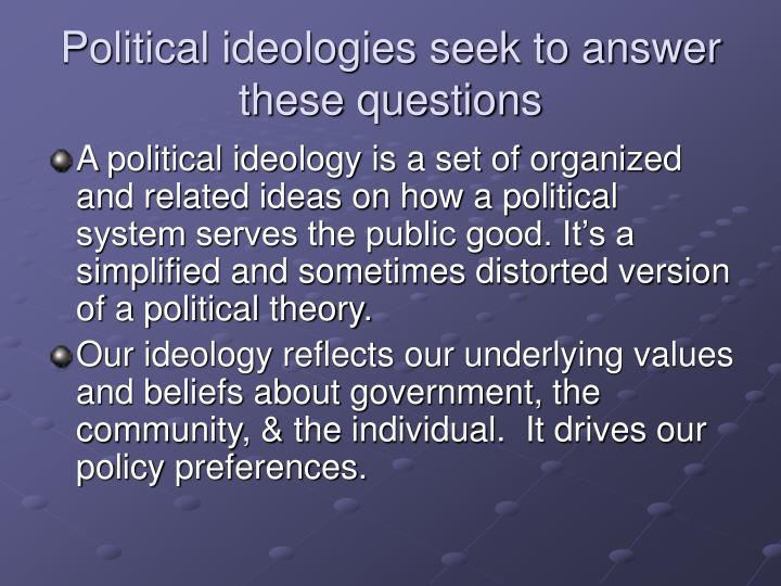 Political ideologies seek to answer these questions