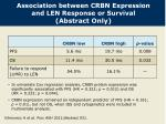 association between crbn expression and len response or survival abstract only