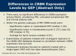 differences in crbn expression levels by gep abstract only
