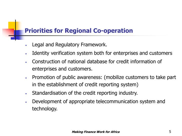 Priorities for Regional Co-operation