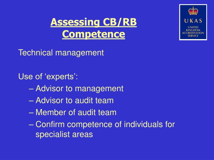 Assessing CB/RB Competence