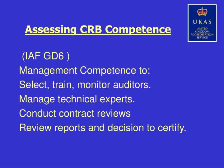 Assessing CRB Competence