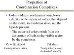 properties of coordination complexes