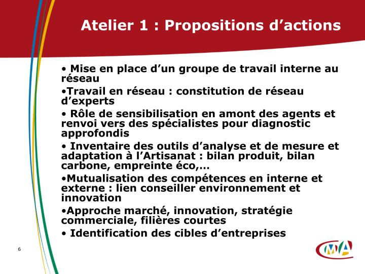 Atelier 1 : Propositions d'actions