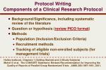 protocol writing components of a clinical research protocol