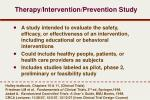 therapy intervention prevention study