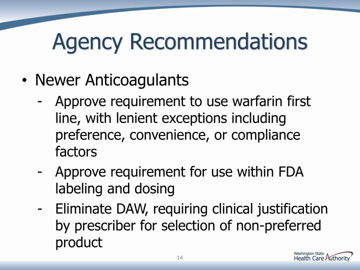 Agency Recommendations