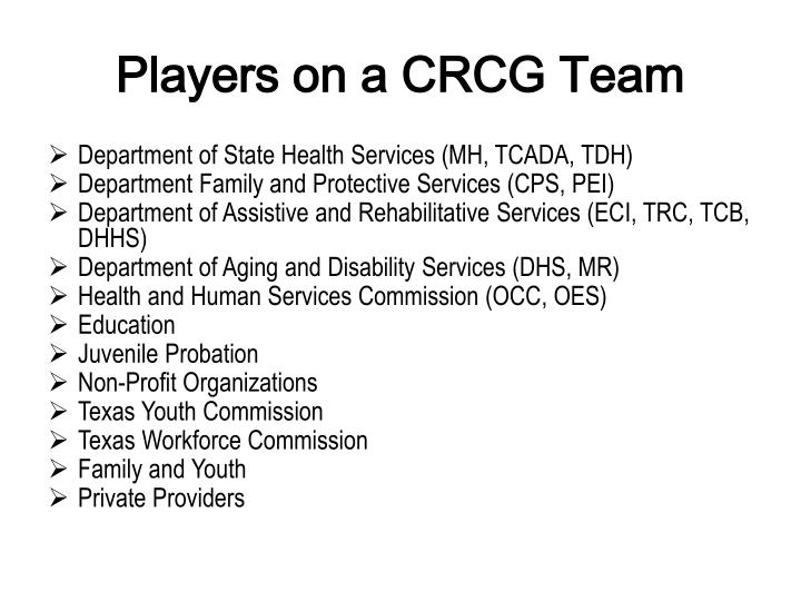 Players on a CRCG Team