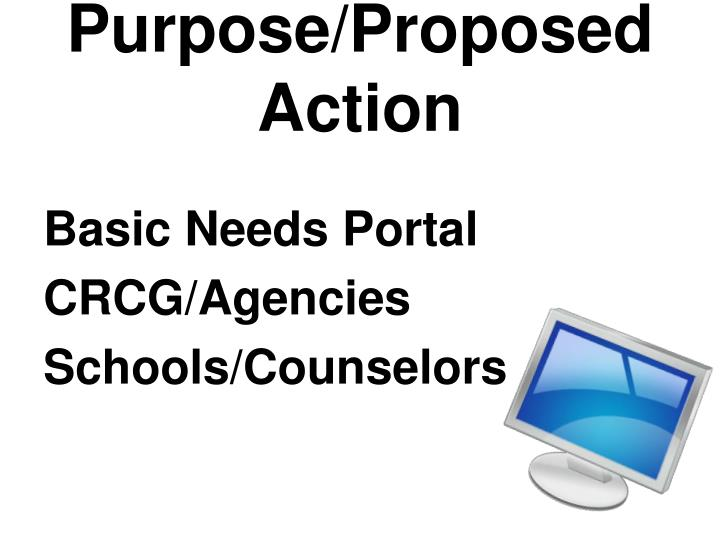 Purpose/Proposed Action