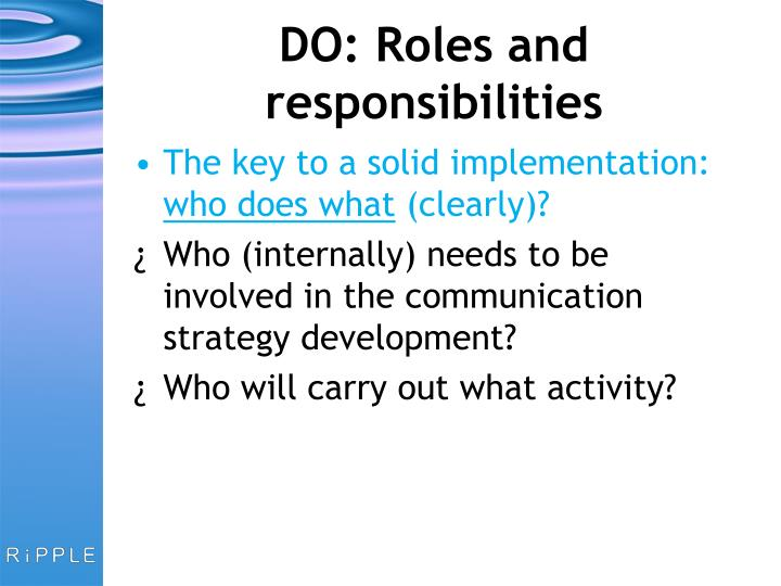 DO: Roles and responsibilities