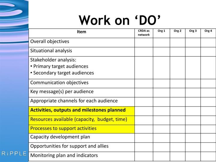 Work on 'DO'
