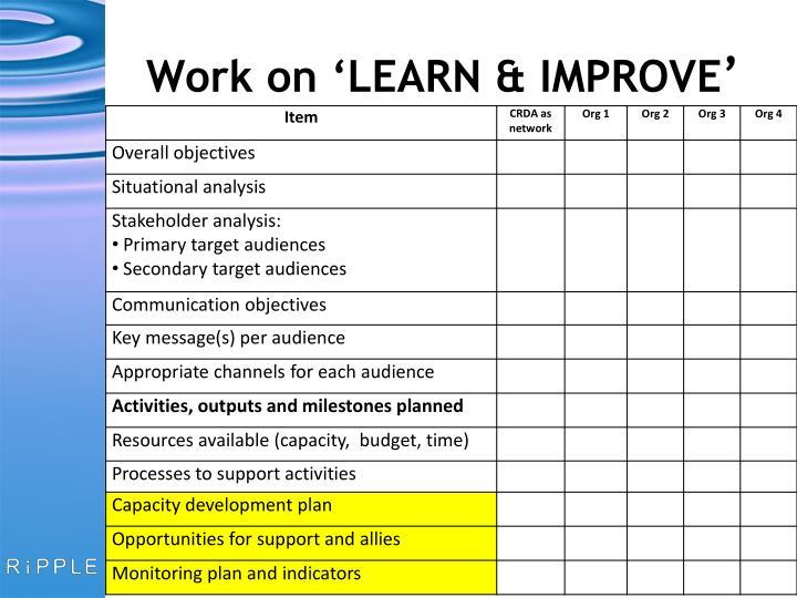 Work on 'LEARN & IMPROVE