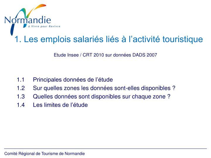 1. Les emplois salariés liés à l'activité touristique