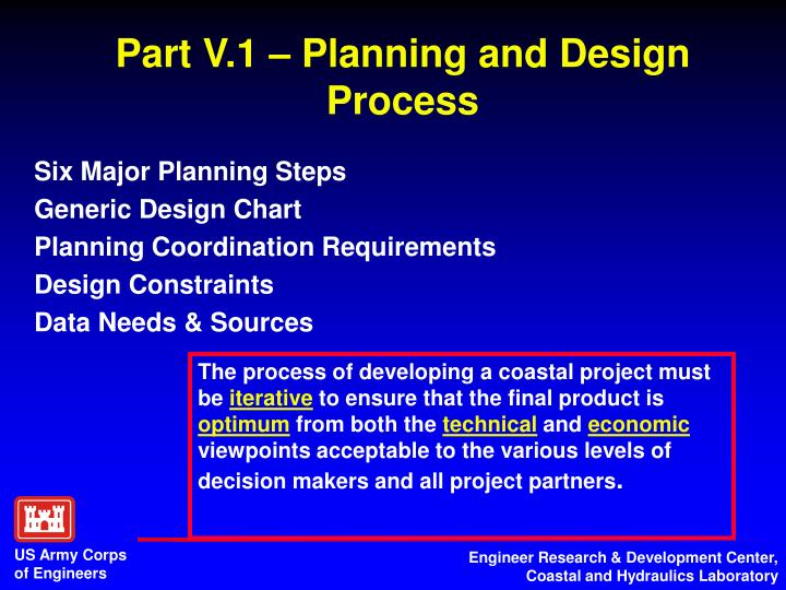 Part V.1 – Planning and Design Process
