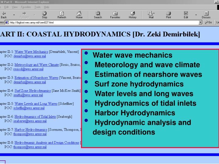Water wave mechanics