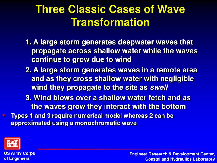 1. A large storm generates deepwater waves that propagate across shallow water while the waves continue to grow due to wind