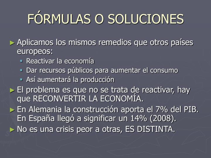 FÓRMULAS O SOLUCIONES