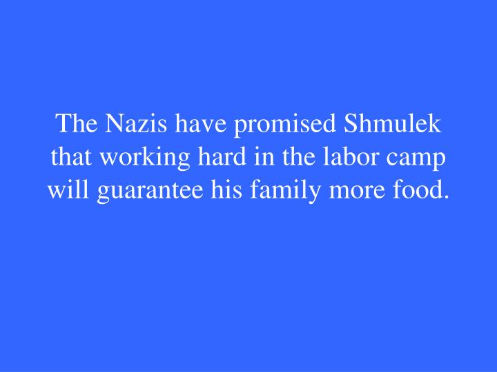 The Nazis have promised Shmulek that working hard in the labor camp will guarantee his family more food.