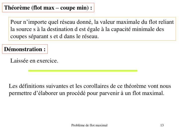 Théorème (flot max – coupe min) :