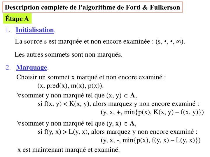 Description complète de l'algorithme de Ford & Fulkerson