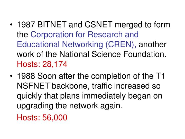 1987 BITNET and CSNET merged to form the