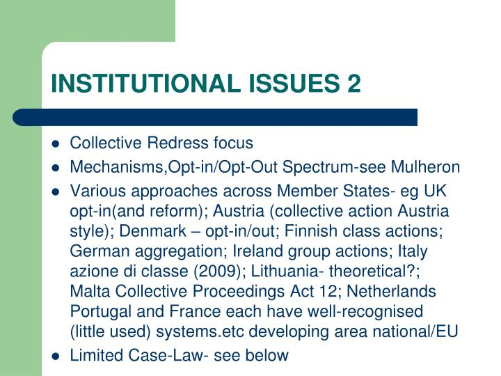 INSTITUTIONAL ISSUES 2