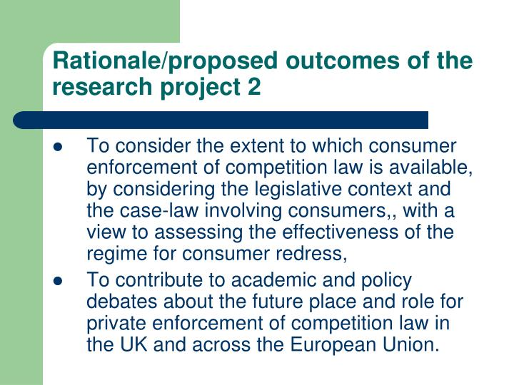Rationale/proposed outcomes of the research project 2