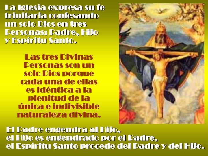 La Iglesia expresa su fe trinitaria confesando